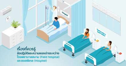 เรื่องที่ควรรู้ ข้อปฏิบัติ และความแตกต่างของ โรงพยาบาลสนาม (Field hospital) และ ฮอสพิเทล (HOSPITEL)